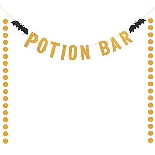 Decoracion Potion Bar Halloween LANMOK bandera maga de papel ecológico con dos cadena de carta redonde para agregar el ambiente de Halloween el día de muerto fiesta de tema horrible y baile de disfraz
