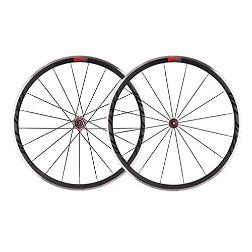 YUDIZWS Juego Ruedas Bicicleta 700C Aluminio Aleación Doble Pared 30mm Fibra Carbon del Tubo Liberación Rápida 8/9/10/11 Velocidades Freno C/V (Color : Red)