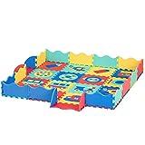 HOMCOM Alfombra Puzzle para Niños 150x150 cm con 36 Piezas de Espuma EVA Suave Área de 1,44 m² Colchoneta Rompecabezas para Bebé Multicolor