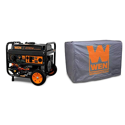 WEN DF475T Dual Fuel 120V/240V Portable Generator with Electric Start Transfer Switch Ready, 4750-Watt, CARB Compliant & 56310iC Universal Weatherproof Inverter Generator Cover, Large, Grey