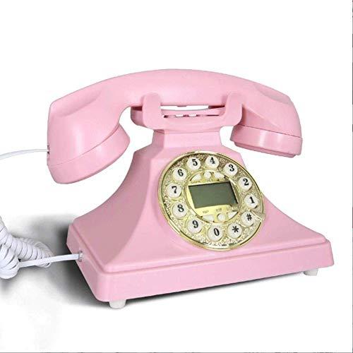 qwertyuio Vintage Telephone? Vintage Telephone European Office Family Teléfono Fijo Antiguo con Manos Libres Metal American Retro Phone (Color, Pink), Pink (Color: Pink)