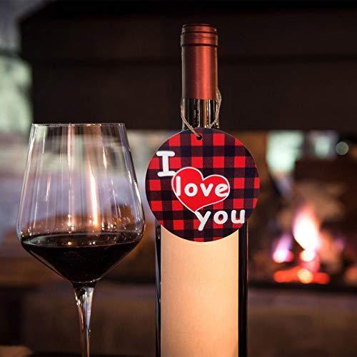 Janly Clearance Sale Decoración del hogar, colgantes de madera para el día de San Valentín, caja de regalo de vino tinto botella de árbol colgante adorno para Navidad, hogar y jardín, (C)