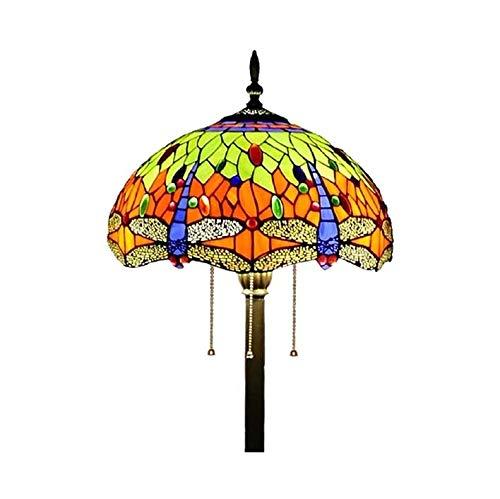 YXX Lámpara de pie, Lámpara de Estilo Tiffany Tiffany, Dormitorio de jardín y Lámpara de pie Vertical, E27 * 3, Pedal y Interruptor de Cremallera, iluminación de Vacaciones