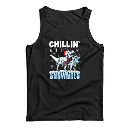 lepni.me Camisetas de Tirantes para Hombre Chillin con My Snowmies Navidad Dinosaurios T Rex (XX-Large Negro Multicolor)