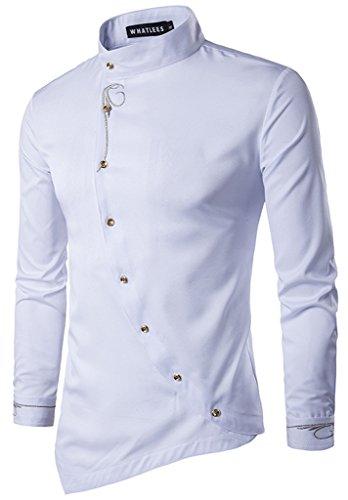 HOP Men's Casual Irregular Longline Hem Slim Fit Button Down Dress Shirt...