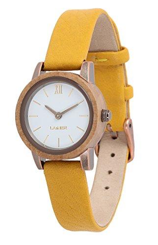 LAiMER 0093 - FLORA, Orologio analogico da polso al quarzo, legno Melo, cinturino in pelle giallo, donna