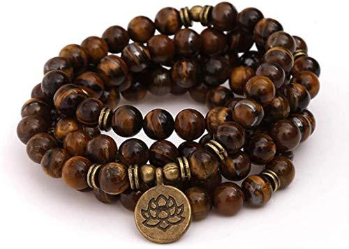 ZKZKK Pulsera de la Riqueza Feng Shui Pulsera Natural Tiger Stone 108 Beads 8mm Bead Pulsera Unisex Vintage Lotus Buddha Colgante Árbol de la Vida Collar Puede traer Suerte y Prosperidad