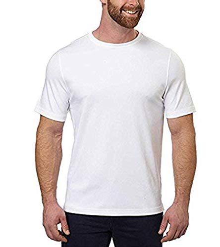 KIRKLAND SIGNATURE Mens 100% Cotton Classic Fit Tee (Large, White)