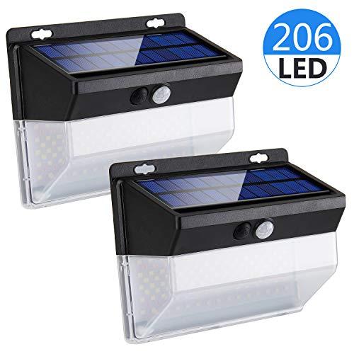 Migimi Außen Solarlampen Wandleuchte, Solarleuchte [Superhelle 206 LEDs] Wasserdichte Aussenleuchte mit Bewegungsmelder 3 Modi Solarlicht, Hohe Kapazität Sicherheitswandleuchte für Garten Hoftür