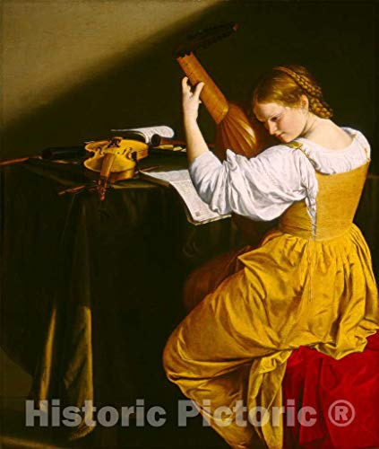 Art Print : Orazio Gentileschi, The Lute Player, c.1616, Historic Wall Décor : 11in x 14in