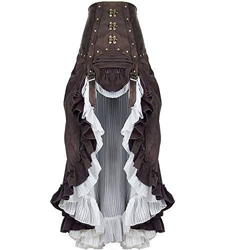 Moonight Women's Steampunk Cosplay Skirt Renaissance Ruffle Skirt (2XL) Brown