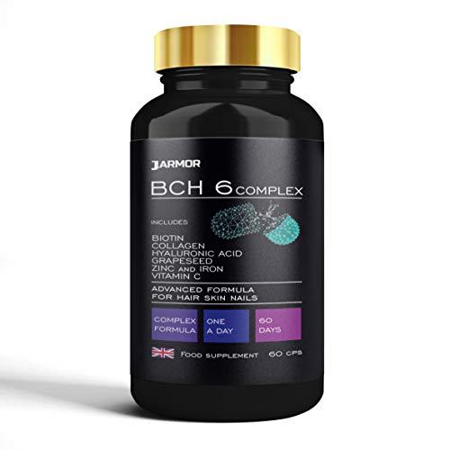 Biotina Colágeno Ácido Hialurónico Zinc Vitamina C Crecimiento del cabello Piel Uñas Huesos 60 cps