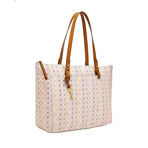 Fossil womens Tote, White, 14 L x 4 W 13 H US