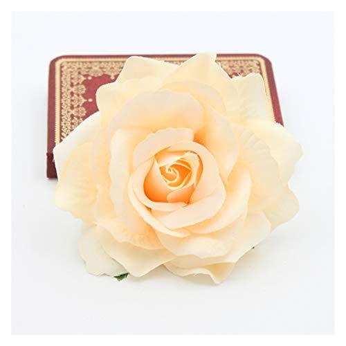 Yaduokj Künstliche Blumen 10 Teile/los schöne künstliche Rose Blume Seide Blumen hochzeitseinrichtung Weihnachten Ornament Kranz blumenköpfe Material (Color : Champagne)