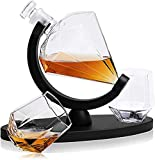 HHORB Bicchiere E Caraffa per Whisky in Cristallo, 850 Ml Decanter Contorto con 2 X 300 Ml Bicchieri Whiskey, Perfetti per Gli Amanti del Whisky, 3 Pezzi