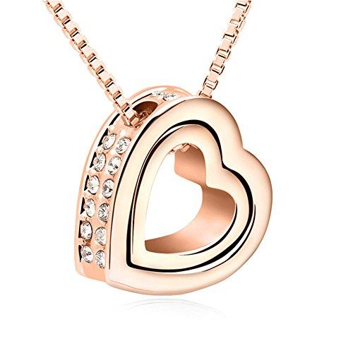 QUADIVA C! Collana da Donna Collana con Ciondolo a Cuore (colore: oro rosa) abbellito con scintillanti cristalli di Swarovski®