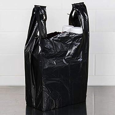 """Carry-Out Plastic Bag-Black Plain T-Shirt Bag 11.5""""x6.5""""x21.5"""" (Black, 100 bags/bundles)"""