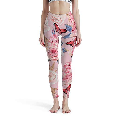 XHJQ88 Damen Pflanze Blume Muster Leggings Retro Schlank Für Jeden Körpertyp Yoga Hose Workout Fitness - Modische Leggings Damen