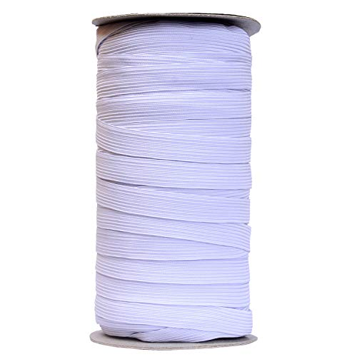 50 Yards Length Flat Elastic Band for Sewing Stretch Elastic Cord for DIY Projects, Arts and Crafts (White, 1/2 Inch Width)