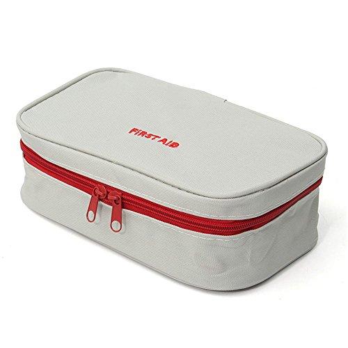 Slivercolor Erste Hilfe Set,Tragbar leer Erste-Hilfe-Koffer First Aid Kit Gewebe Medizintasche, Reiseapotheke Tasche, Betreuertasche Tasche für Reisen Home Workplace (Grau Weiß)
