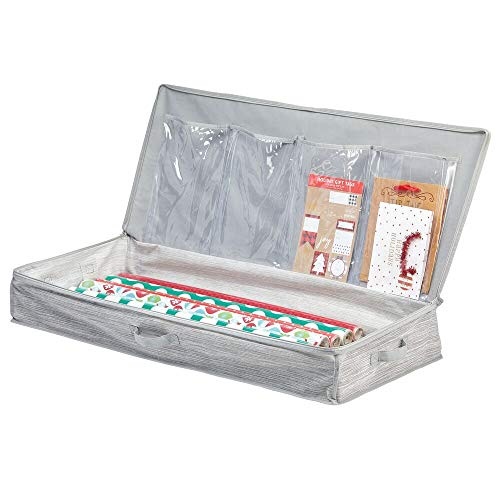 mDesign Unterbettkommode für Geschenkverpackungen – Ordnungssystem für Geschenkpapierrollen, bänder und -Schleifen aus Kunstfaser – Geschenkpapier Organizer mit diversen Fächern – grau und beige