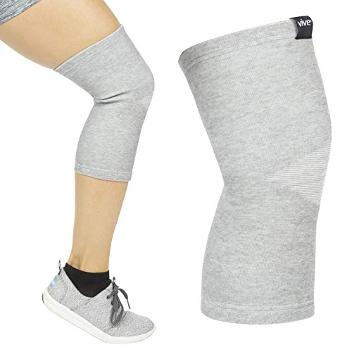 Vive Knee Support Sleeves (Pair) - Bamboo Charcoal Elastic Compression Brace for Improved Circulation, Recovery, Arthritis Joint Pain - Sports, Running, Jogging Wrap for Men, Women