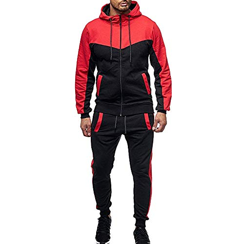 Aiserkly Herren Trainingsanzug Jogginganzug Sportanzug Jogging Anzug Hoodie-Sporthose Jogging-Anzug Trainings-Anzug Jogging-Hose Polyesteranzug Rot M