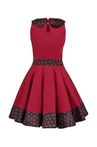 BlackButterfly Kinder 'Zoey' Vintage Polka-Dots Kleid im 50er-Jahre-Stil (Rot, 11-12 J / 146-152)