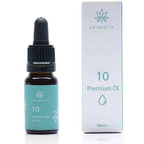 Amiredita Öl 10% Prozent Tropfen - Premium C-Active MCT Öl mit Hanfsamenöl & Terpen-Konzentrat - Reich an Omega Fettsäuren - Milder Geschmack - Laborgeprüft mit Zertifikat - 100% Vegan - 10ml