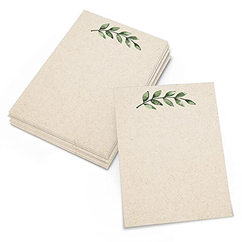 321Done Greenery Note Cards - 4x6 (Set of 50) Blank Greenery Cards - Thick, Heavy Cardstock - Cute, Pretty, Simple Green Leaves on Kraft - No Envelopes - Made in The USA