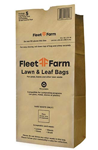 Fleet Farm Gallon Heavy Duty Brown Paper Lawn and Refuse Bags for Home and Garden (Pack of 25)