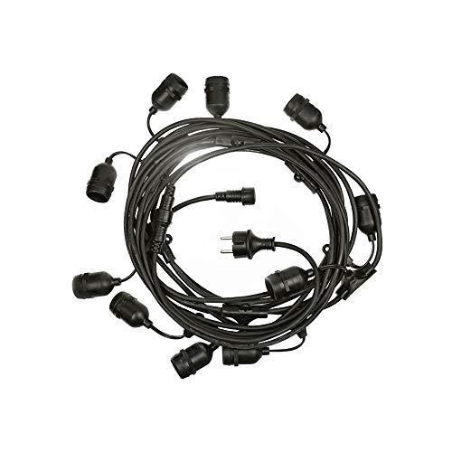 Guirnalda de luces Girlanda negra, 10 casquillos E27, 10 m, IP44, con cable y enchufe.