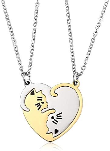 HUIQ 2pc Parejas de Parejas Collares de corazón Silver Gold Acero Inoxidable Ying Yang Gato Puzzle Colgante Collar para su y Hers Amistad Mejor Amigo Juego de joyería-No Grabado