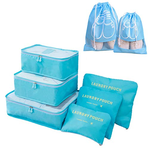アレンジケース トラベルポーチ YISUYA 8点セット 衣類収納バッグ パッキング 旅行 出張 収納バッグ 衣類収納 下着収納 周辺小物用ポーチ 洗面用具ポーチ 靴袋 整理用 (ブルー)
