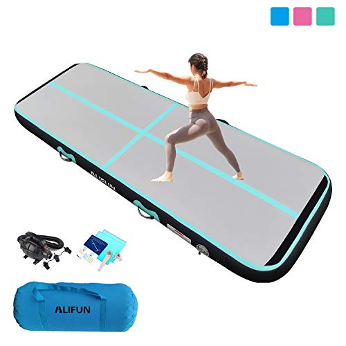 ALIFUN Premium Tumble Track 10ft 13ft 16ft 20ft Airtrack Thick 8in 4in Gymnastics Air Track Mat Inflatable Tumble Track with Electric Air Pump for Home Use/Tumble/Gym/Training/Cheerleading