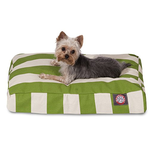 Sage Vertical Stripe Small Rectangle Indoor Outdoor Pet Dog Bed With Removable Washable Cover By Majestic Pet Products