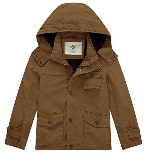 WenVen Big Boy Girl Spring Soft Cotton Lined Military Anorak Jacket (Brown, 10-12 Years)