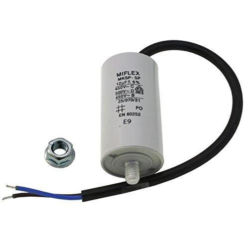 AnlaufKondensator MotorKondensator 12µF 450V 35x65mm Leitung M8 ; Miflex ; 12uF
