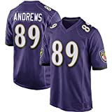 LIEOAGB Rǎvens Football américain Andrews 89# Jersey, Ravens Fan Rugby Jersey T-Shirts Hommes Brodé Top Training Rugby Short Sleeve Jack-Purple-M(175~180)