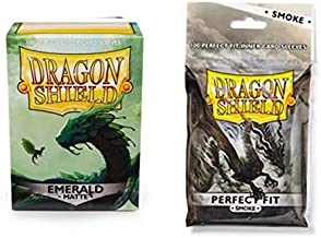 Dragon Shield Bundle: Matte Emerald 100 Count Standard Size Deck Protector Sleeves + 100 Count Smoke Perfect Fit Inner Card Sleeves