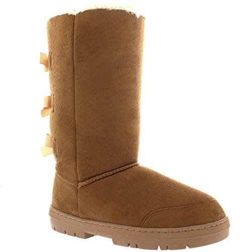 Womens Triplet Bow Tall Classic Waterproof Winter Rain Snow Boots - 9 - LTA40 EA0308 Light Tan