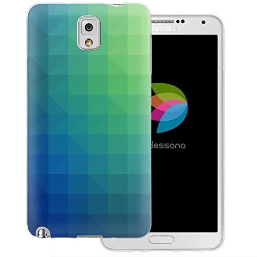 dessana Polygon transparante beschermhoes mobiele telefoon case cover tas voor Samsung Galaxy S Note, Samsung Galaxy Note 3, Behang patroon.
