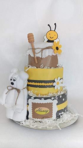 Tarta de pañales baby honey abeja. 3 pisos, artesanal y original, pañales talla 3,niño y niña.