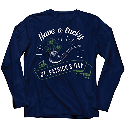 lepni.me Camiseta de Manga Larga para Hombre Feliz Día de San Patricio en Irlanda Suerte Charms Fiesta Regalo (XXL Azul Multicolor)