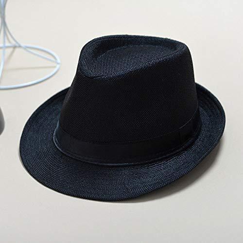 HVTKL Fashion Zomer Cool Panama Brede rand Fedora Straw Made Indiana Jones Stijl Hoed Blauw Zwart