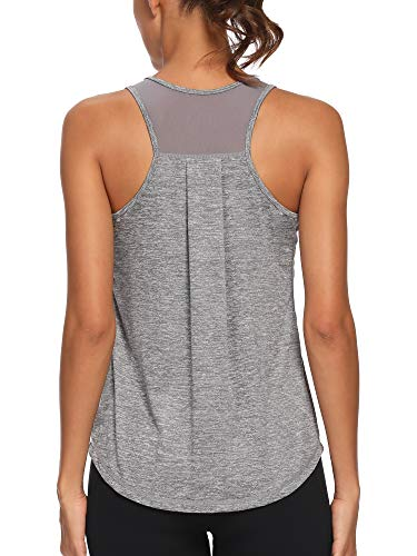 CNJUYEE Workout Tops for Women Gym Clothes Athletic Sports Running Tank Tops Mesh Training Yoga Shirts Grey