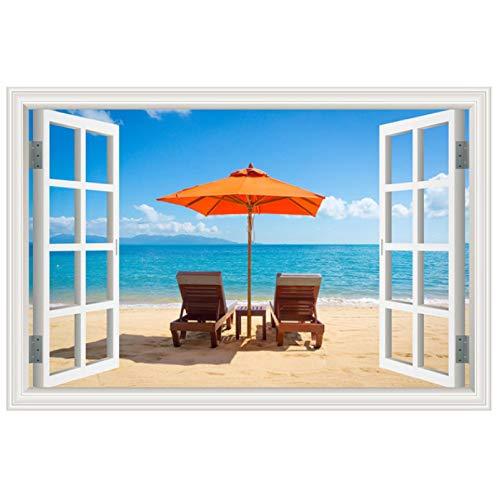 tinghua Summer Beach Coconut Tree Nature Picture Landscape Vinyl Mural Wallpaper 3D Window View Wall Sticker Wall Art Decor 40 * 60cm