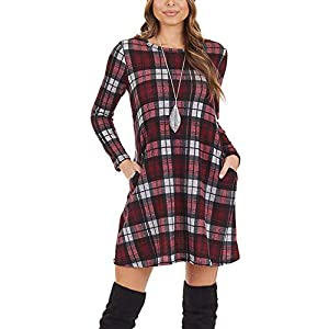 Women's Casual Long Sleeve Plaid Dresses Loose Swing Tunic Dress