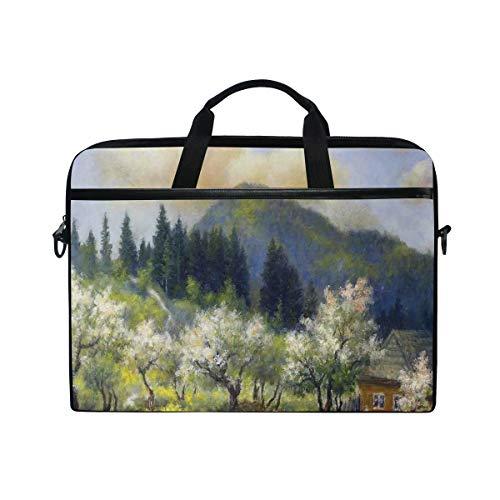 VICAFUCI Nuevo Bolso para portátil de 15-15.4 Pulgadas,Casa de Pueblo Retro en jardín Valla de Madera árboles Flores Blancas Bosque