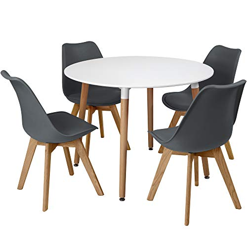 Charles Jacobs Circular Dinner Table Set With 4 Dining Chairs - Choice of Colour - Grey
